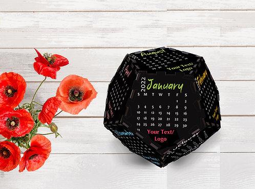 Personalized 3D Pentagon Shape Wooden Table Calendar(Penta 02)