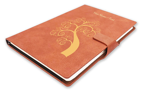 Personalized Hardbound NoteBook/Diary with MAGNETIC Lock (NB TAN Mag 004)