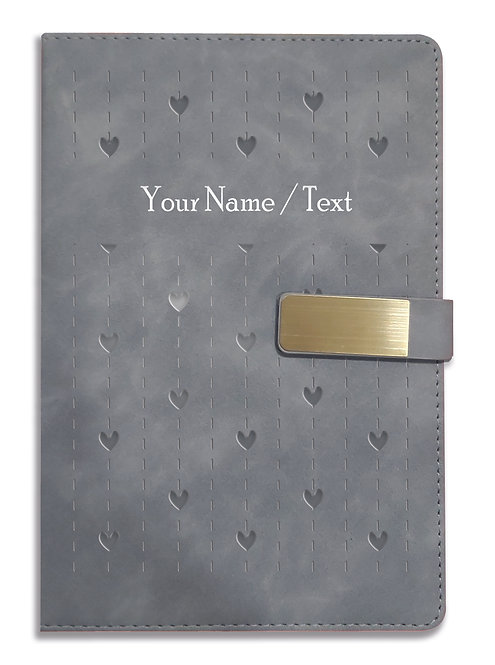 Personalized Hardbound VLVT FINISH NoteBook/Diary with MAGNETIC Lock-NB Grey 005
