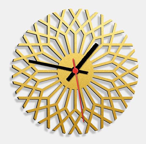 Wooden Laser Cut Golden Wall Clock (003)