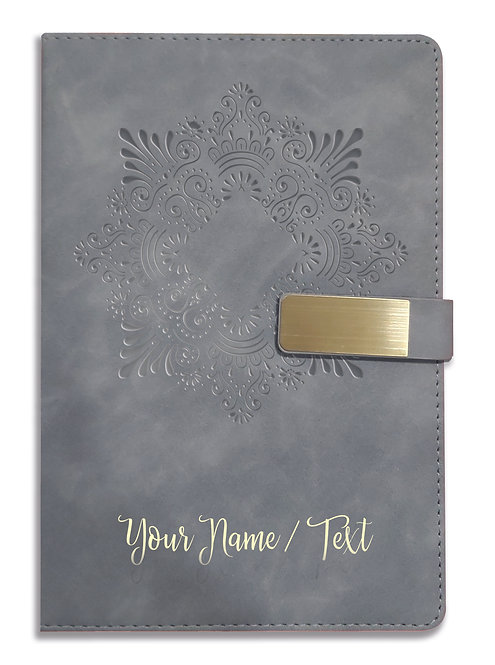 Personalized Hardbound VLVT FINISH NoteBook/Diary with MAGNETIC Lock-NB Grey 002