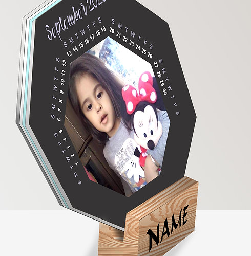 Personalized Octagon Table Calendar on Wooden Block (DCal Octa 04)