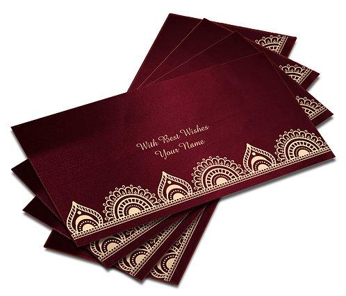 Shagun Envelope on Maroon Satin paper(Pack of 10) SESATIN 007