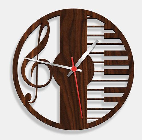 Wooden Laser Cut Walnut Wood Finish Wall Clock (017)