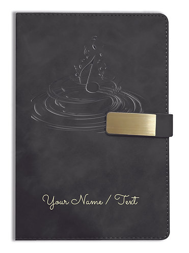 Personalized Hardbound VLVT FINISH NoteBook/Diary with MAGNETIC Lock-NB Blck 012