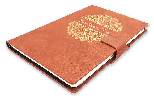 Personalized Hardbound NoteBook/Diary with MAGNETIC Lock (NB TAN Mag 002)