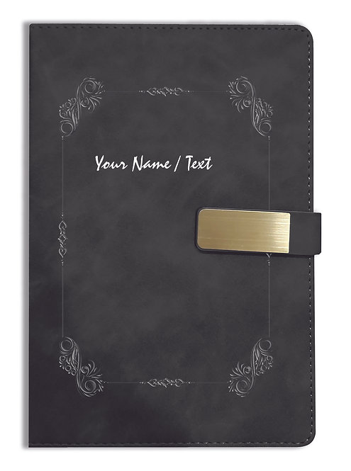 Personalized Hardbound VLVT FINISH NoteBook/Diary with MAGNETIC Lock-NB Blck 007