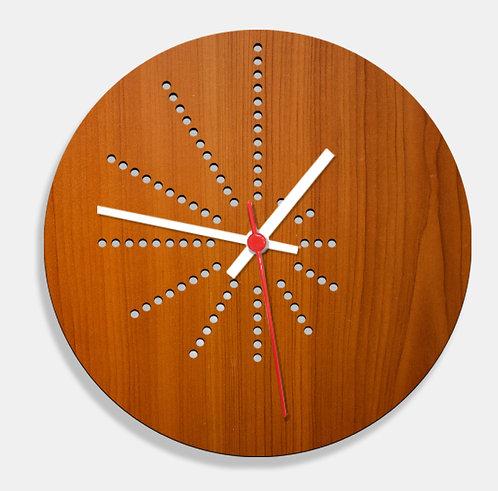 Wooden Laser Cut Teak Wood Finish Wall Clock (009)