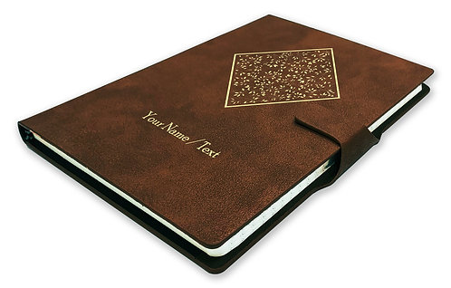 Personalized Hardbound NoteBook/Diary with MAGNETIC Lock (NB Dark Brown Mag 003)