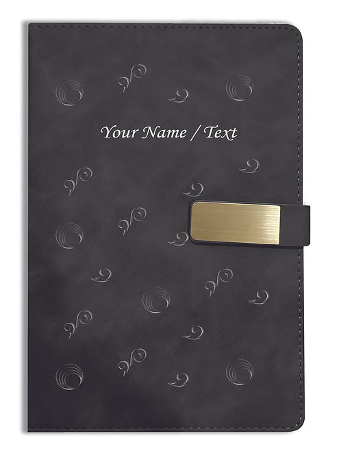 Personalized Hardbound VLVT FINISH NoteBook/Diary with MAGNETIC Lock-NB Blck 013