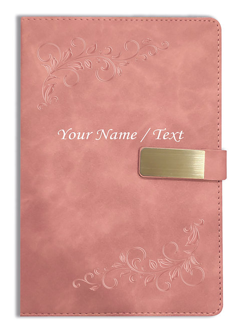 Personalized Hardbound VLVT FINISH NoteBook/Diary with MAGNETIC Lock-NB Brwn 008
