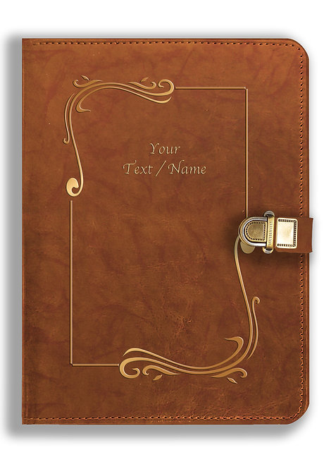 Personalized Leather NoteBook / Diary with Metal Lock (NBLOCK 013)