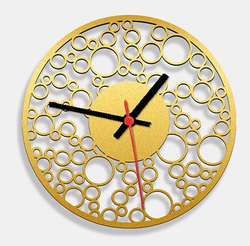 Wooden Laser Cut Golden Wall Clock (013)
