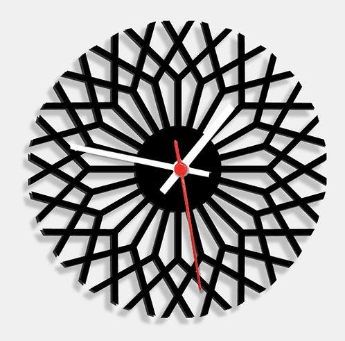 Wooden Laser Cut Black Wall Clock (003)