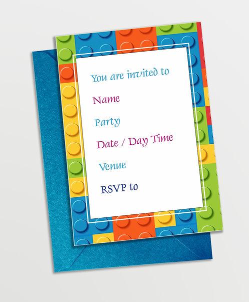 Customized Blocks Theme Invitation Cards (PS InvCard 03)