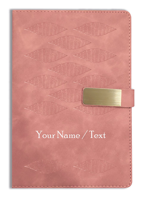 Personalized Hardbound VLVT FINISH NoteBook/Diary with MAGNETIC Lock-NB Brwn 006