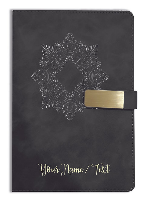 Personalized Hardbound VLVT FINISH NoteBook/Diary with MAGNETIC Lock-NB Blck 002