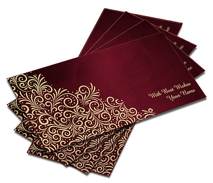 Shagun Envelope on Maroon Satin paper(Pack of 10) SESATIN 002