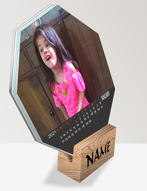 Personalized Octagon Table Calendar on Wooden Block (DCal Octa 01)