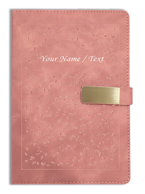 Personalized Hardbound VLVT FINISH NoteBook/Diary with MAGNETIC Lock-NB Brwn 014