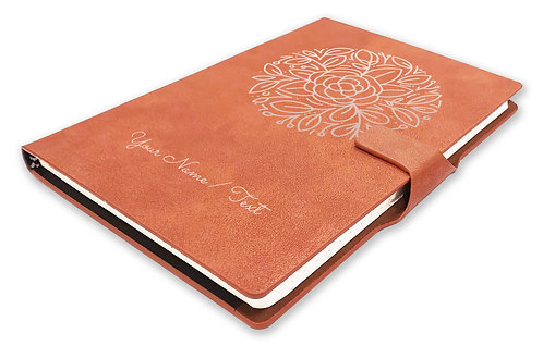 Personalized Hardbound NoteBook/Diary with MAGNETIC Lock (NB TAN Mag 005)