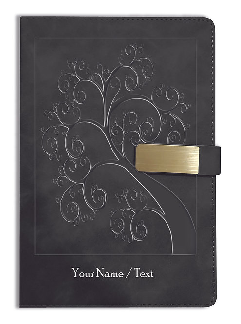 Personalized Hardbound VLVT FINISH NoteBook/Diary with MAGNETIC Lock-NB Blck 004