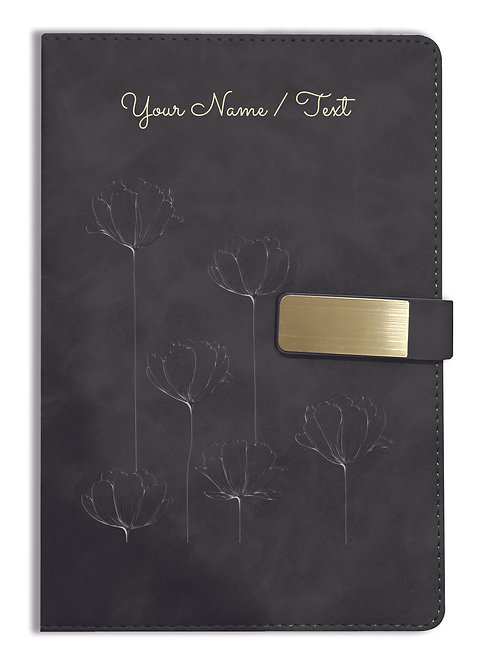 Personalized Hardbound VLVT FINISH NoteBook/Diary with MAGNETIC Lock-NB Blck 011