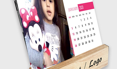 Personalized Table Calendar on Wooden Block Stand (DCal Wood 04)