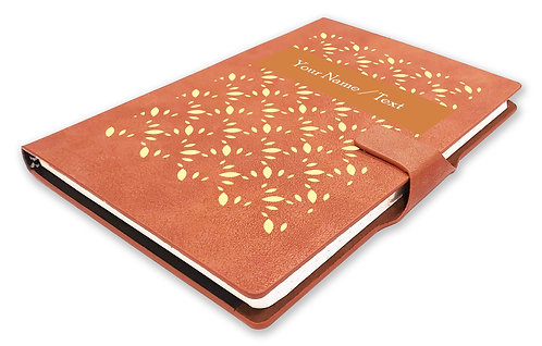 Personalized Hardbound NoteBook/Diary with MAGNETIC Lock (NB TAN Mag 001)