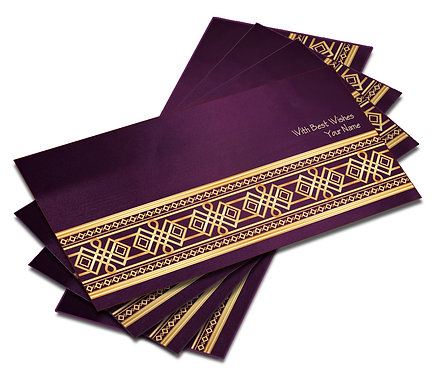 Shagun Envelope on Purple Satin paper(Pack of 10) SESATIN PURPLE 003