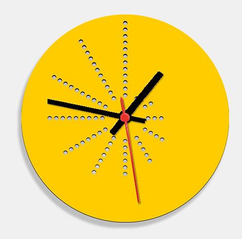 Wooden Laser Cut Yellow Wall Clock (009)