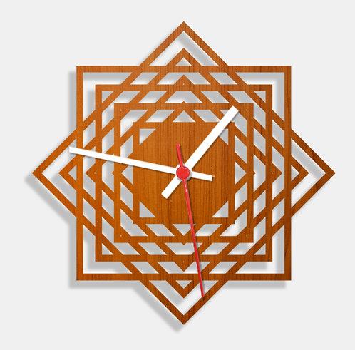 Wooden Laser Cut Teak Wood Finish Wall Clock (005)