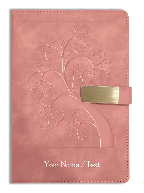 Personalized Hardbound VLVT FINISH NoteBook/Diary with MAGNETIC Lock-NB Brwn 004