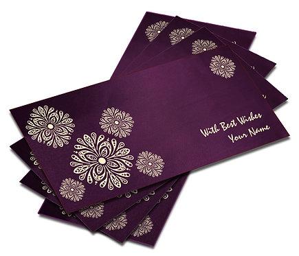 Shagun Envelope on Purple Satin paper(Pack of 10) SESATIN PURPLE 006