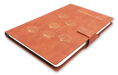 Personalized Hardbound NoteBook/Diary with MAGNETIC Lock (NB TAN Mag 007)
