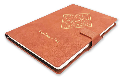 Personalized Hardbound NoteBook/Diary with MAGNETIC Lock (NB TAN Mag 003)