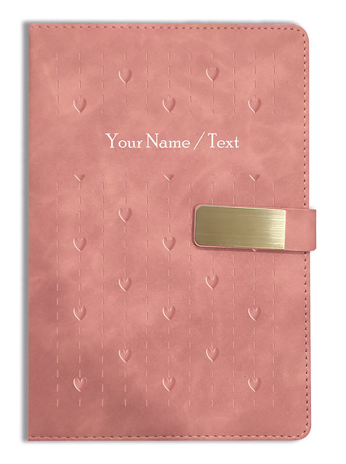 Personalized Hardbound VLVT FINISH NoteBook/Diary with MAGNETIC Lock-NB Brwn 005