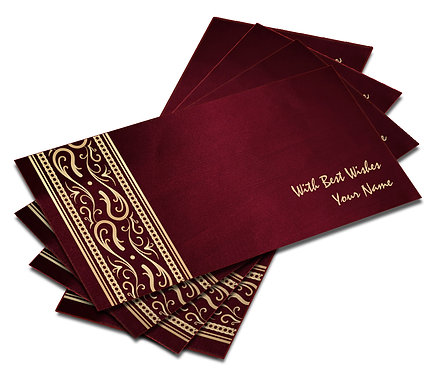 Shagun Envelope on Maroon Satin paper(Pack of 10) SESATIN 005