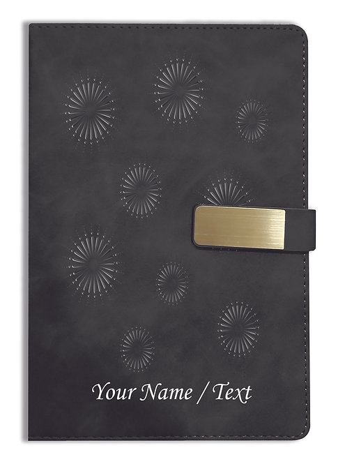 Personalized Hardbound VLVT FINISH NoteBook/Diary with MAGNETIC Lock-NB Blck 009
