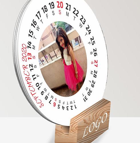 Personalized Circular Table Calendar on Wooden Block (DCal Cir 03)