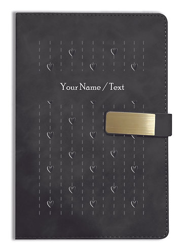 Personalized Hardbound VLVT FINISH NoteBook/Diary with MAGNETIC Lock-NB Blck 005