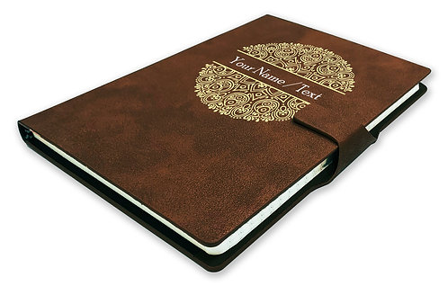 Personalized Hardbound NoteBook/Diary with MAGNETIC Lock (NB Dark Brown Mag 002)