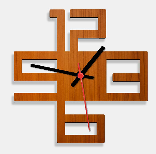 Wooden Laser Cut Teak Wood Finish Wall Clock (012)