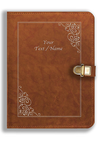 Personalized Leather NoteBook / Diary with Metal Lock (NBLOCK 018)