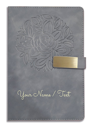 Personalized Hardbound VLVT FINISH NoteBook/Diary with MAGNETIC Lock-NB Grey 015