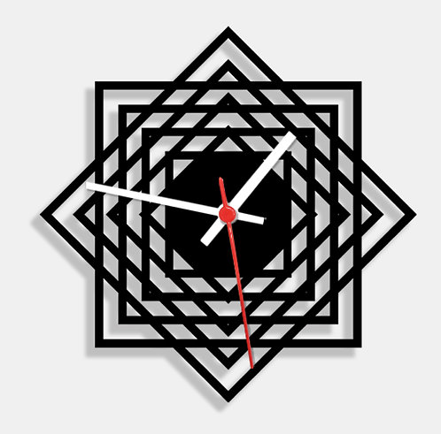 Wooden Laser Cut Black Wall Clock (005)