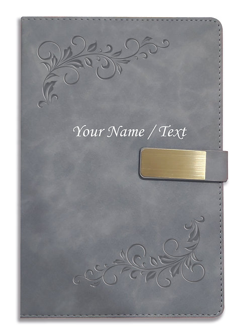Personalized Hardbound VLVT FINISH NoteBook/Diary with MAGNETIC Lock-NB Grey 008