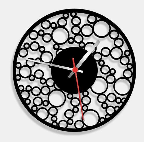 Wooden Laser Cut Black Wall Clock (013)