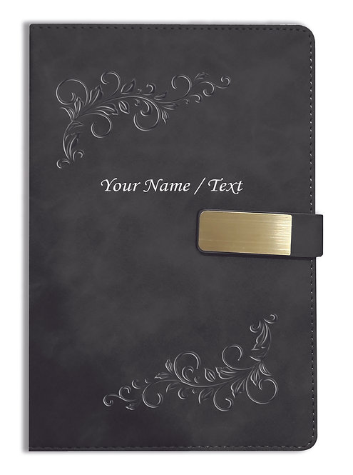 Personalized Hardbound VLVT FINISH NoteBook/Diary with MAGNETIC Lock-NB Blck 008