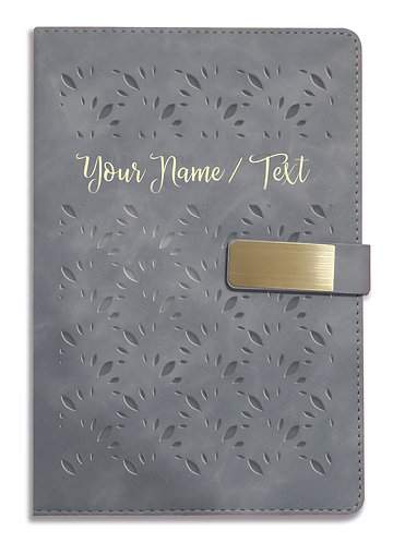 Personalized Hardbound VLVT FINISH NoteBook/Diary with MAGNETIC Lock-NB Grey 003